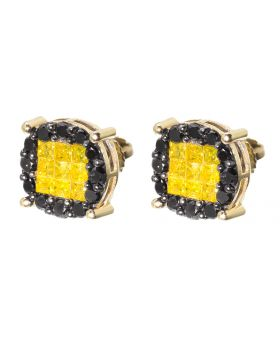Round Earrings with Black and Canary Diamonds (1.50 ct)