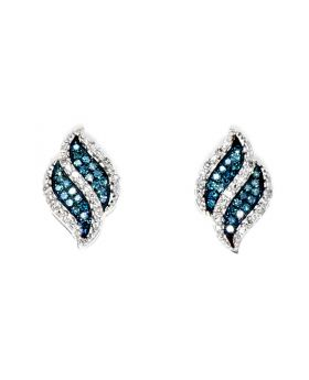 Blue Diamond Waterfall Style Earrings (0.15 ct)