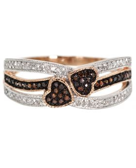 Red Diamond Heart Engagement Band (0.20 ct)