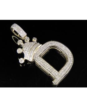 "10K Yellow Gold Diamond Crown Initial ""D"" Letter Pendant 0.40 Ct 1.5"""
