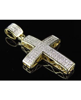 "Pave Diamond Cross in 10k Yellow Gold 1.5"" (.40 Ct)"