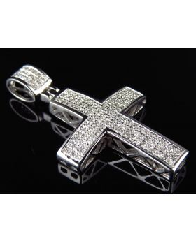 "Pave Diamond Cross in 10k White Gold 1.5"" (.40 Ct)"