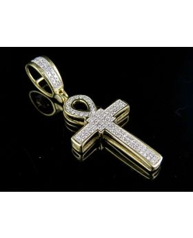 10K Yellow Gold Diamond Egyptian Ankh Cross Pendant 0.20 Ct 1.5""