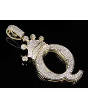 10K Yellow Gold Diamond Crown Initial Q Letter Pendant 0.36 Ct 1.5""