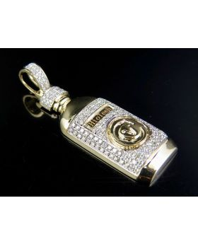 10K Yellow Gold Diamond Syrup Bottle Pendant 1 Ct 2 Inch