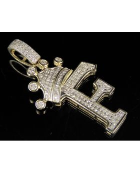 """10K Yellow Gold Diamond Crown Initial F Letter Pendant 0.30 Ct 1.5"""""""