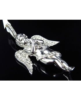 Winged Ribbon Angel Pendant in 10K White Gold (1 ct)