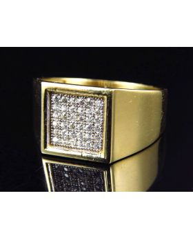 10K Yellow Gold Simulated Diamond Square Shape Design Fashion Pinky Ring 11MM