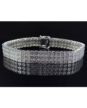 3 Row Diamond 9 Inch Bracelet in White Gold Finish 11mm 1.5Ct