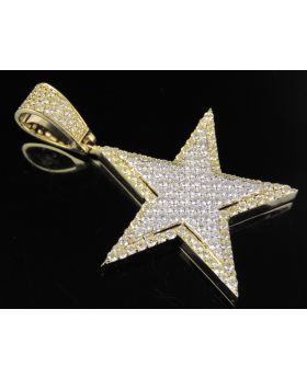10K Two Tone Gold Real Diamond Star Pendant Charm 2.50 CT 2""