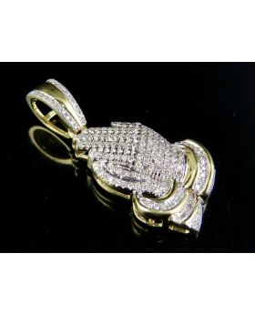 """10K Yellow Gold Iced Out Diamond Praying Hand 0.50 Ct 1.25"""""""