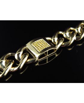 Miami Cuban Link Canary Diamond 8.5 Inch Bracelet in 10K Yellow Gold (1.50 ct)