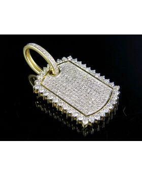 Mens 10K Yellow Gold Diamond Ice Out DogTag Pendant 1.25 Ct 1.4""