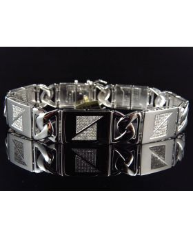 Abstract White Diamond 8.5 Inch Bracelet set in 10K White Gold (2.30 ct)