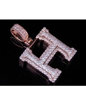 10K Rose White Gold Real Diamond Custom 3D Initial H Letter Pendant 1.9 CT 1.5""