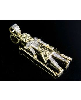 10K Yellow Gold Egyptian God Atum Diamond Pendant 0.30 Ct 1.75""