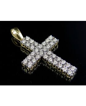 10K Yellow Gold Diamond 2 Row Miracle Set Cross Pendant 0.50 Ct 1.75""