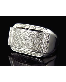 Sterling Silver 3D Partition Diamond Ring In White Gold Finish (0.75 Ct)