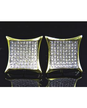 Square Kite Diamond Stud Earrings Finished In Yellow Gold (13.5MM .33ct)