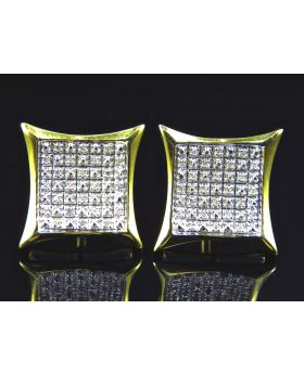 Concave Square Kite Diamond Stud Earrings Finished In Yellow Gold (17MM .15ct)
