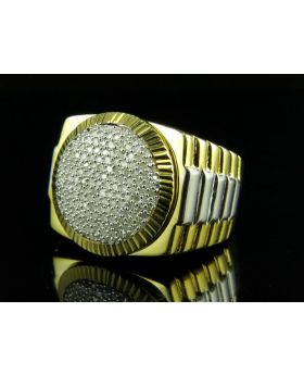 Yellow Gold Finish Adjustable Shank Starburst Frame Diamond Ring 0.50ct.