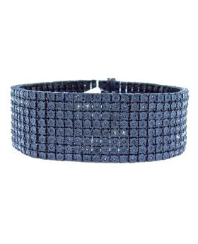 Mens 8 Row Black On Black Diamond Bracelet 24mm