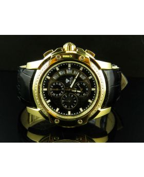 Aqua Master Yellow Gold Case Black Leather Chrono 0.20ct Diamond Quartz Watch W#347