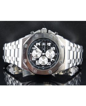 Men's Jewelry Unlimited White Gold Finish Solid Steel Black Dial Watch