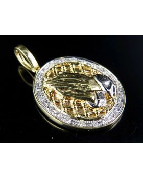 10K Yellow Gold Praying Hand Medallion Diamond Pendant 0.50 Ct 1.5""