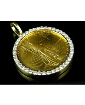 24K Solid Yellow Gold Coin Lady Liberty One Ounce Diamond Pendant Charm 3.0ct.