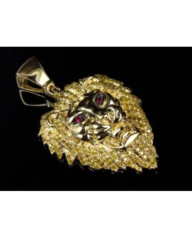 10K Yellow Gold Lion Head Pink and Canary Diamond 1.75 Inch Charm Pendant (1.75ct.)