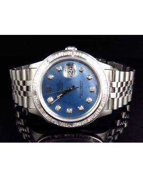 Rolex Datejust Jubilee Stainless Steel with Blue Pearl Dial Diamond Watch (4 Ct)