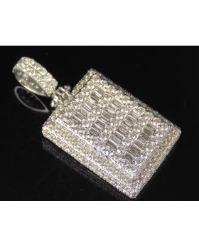 10K White Gold Real Diamond Baguette Bar Pendant 5.5 CT 1.6""