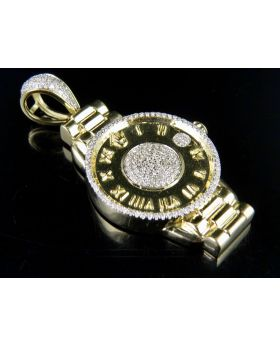 Mens 10K Yellow Gold Wrist Watch Presidential Diamond Pendant .50CT