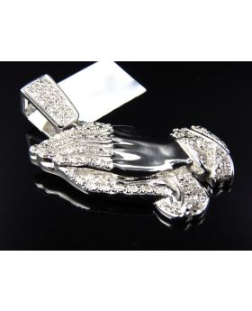 Pave Set Diamond Praying Hands Pendant in White Gold Finish (.40 Ct)