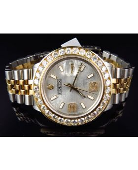 Rolex Datejust 18k Stainless Steel with Custom Dial Diamond Watch (6.25 Ct)