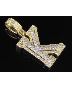 10K Yellow White Gold Diamond Custom 3D Initial K Letter Pendant 1.5 CT 1.5""