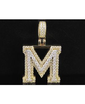 10K Yellow White Gold Diamond Custom 3D Initial M Letter Pendant 2 CT 1.5""