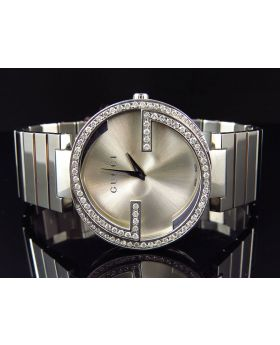 "Gucci Interlocking ""GG"" Stainless Steel 37 MM Diamond Watch - YA133308 (2.0 ct)"
