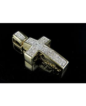 14K Yellow Gold Genuine Princess Diamond Cross Pendant 1.33ct 1.2""
