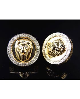 10K Yellow Gold Pave Set Genuine Diamond Bezel Lion Head Earrings 17MM (.50 Ct)