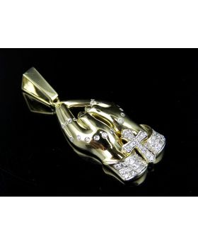 10K Yellow Gold Real Diamond Praying Hand Pendant 0.68ct 2""