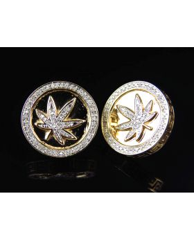 10K Yellow Gold Pave Genuine Diamond Bezel Marijuana Leaf Earrings 17MM (0.50 Ct)