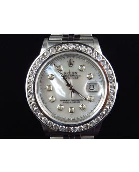 Rolex Datejust Oyster Quickset White MOP Dial Diamond Watch (4.5 Ct)