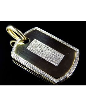10K Yellow Gold Genuine Diamond Center Dog Tag Pendant (0.50 ct)
