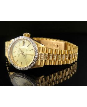 Ladies Rolex 26MM Datejust 18K Yellow Gold Diamond Watch (6.5 Ct)