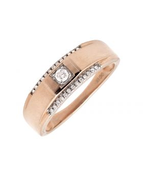 10K Rose Gold Solitaire Accent Diamond 6MM Wedding Ring Band 0.25ct.
