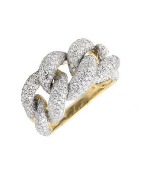 10K Yellow Gold 18MM Miami Cuban Link Style Diamond Statement Ring 4.0ct.
