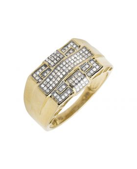 10K Yellow Gold Rectangle Frame Cross Diamond Pinky Ring 0.30ct.