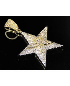 Unisex 10K Yellow Gold Real Diamond Star Pendant 1.5 CT 1.5""